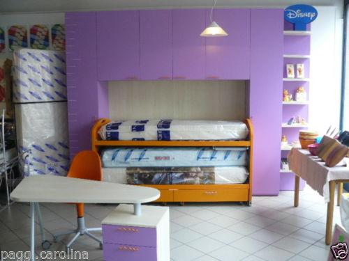 Cameretta Lilla E Arancione : Cameretta battistella con 2 letti arancione e lilla con ponte e